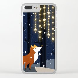 Fox and stars Clear iPhone Case