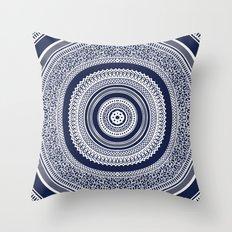 Denim Mandala Throw Pillow