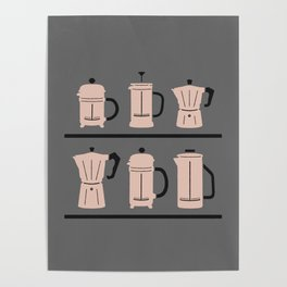 Volturno & French Press Coffee #6 medium grey & vintage pink Poster