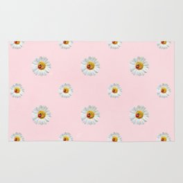 Flower Flowers Daisies in love - pink floral pattern Rug