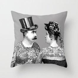 Tattooed Victorian Lovers   Tattooed Couple   Vintage Tattoos   Victorian Tattoos   Victorian Gothic Throw Pillow