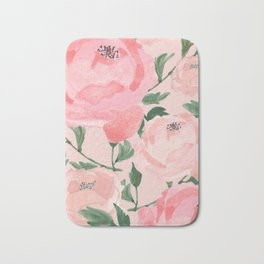 Watercolor Peonies with Blush Background Bath Mat