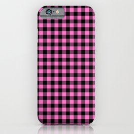 Classic Pink Country Cottage Summer Buffalo Plaid iPhone Case
