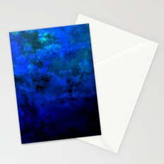 SECOND STAR TO THE RIGHT Rich Indigo Navy Blue Starry Night Sky Galaxy Clouds Fantasy Abstract Art Stationery Cards