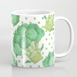 Broccoli on Green dotted Background Coffee Mug