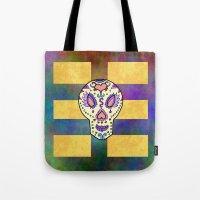 sugar skull Tote Bags featuring Sugar Skull by Linda Tomei