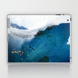 In the Surf: a vibrant minimal abstract painting in blues and gold Laptop & iPad Skin