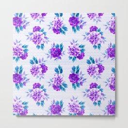 Pastel lilac violet hand painted watercolor floral geometric pattern Metal Print