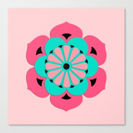 Lotus Flower Mandala, Coral Pink and Turquoise Canvas Print