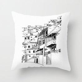 Urban sketch street scene 1 Throw Pillow