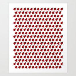 Ladybugs Pattern-White Art Print