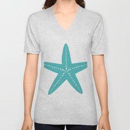 Starfish (Teal & White) Unisex V-Neck