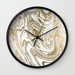 Stylish white faux gold foil elegant marble Wall Clock