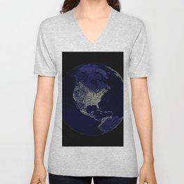 Earth Globe Lights Unisex V-Neck