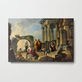 Giovanni Paolo Pannini's Masterpiece: The Apostle Paul Preaching on the Ruins. Metal Print