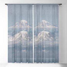 Mount Adams Mt Rainier - PNW Mountains Sheer Curtain