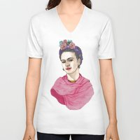 frida kahlo V-neck T-shirts featuring Frida Kahlo by Barruf