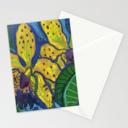 Yellow Orchid Tropical Flowers Floral Pastel Sketch Stationery Cards