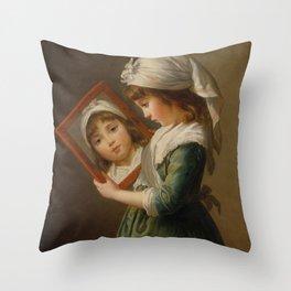 Elisabeth Louise Vigée Le Brun - Looking in a Mirror Throw Pillow