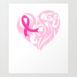 Cute Ribbon And Heart Support Breast Cancer Awareness Product Art Print