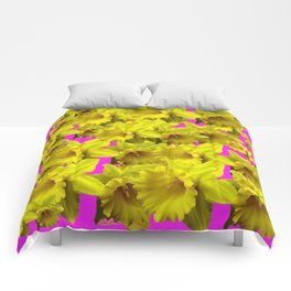 YELLOW SPRING DAFFODILS ON  VIOLET PURPLE ART Comforters