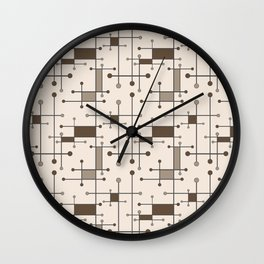 Intersecting Lines in Cream, Tan and Brown Wall Clock