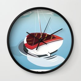 Northumberland Whitley Bay travel poster Wall Clock