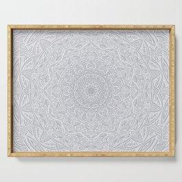 Most Detailed Mandala! Cool Gray White Color Intricate Detail Ethnic Mandalas Zentangle Maze Pattern Serving Tray