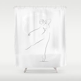 'Reach', Dancer Line Drawing Shower Curtain