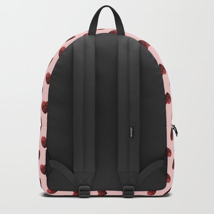 Red Glitter sparkles Heart Backpack