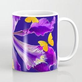 YELLOW BUTTERFLIES AMETHYST  PURPLE DUTCH IRIS FLOWER Coffee Mug