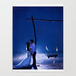Married Couple Embraces On The Beach (Wedding) Poster