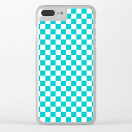 White and Cyan Checkerboard Clear iPhone Case
