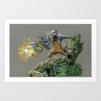 guardians of the galaxy Art Prints featuring Guardians by theMAINsketch