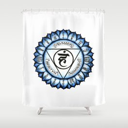 Throat Chakra (English Version) Shower Curtain