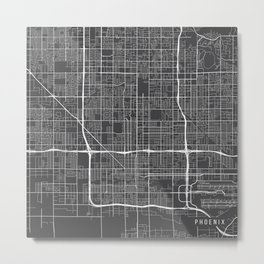 Phoenix Map, USA - Gray Metal Print