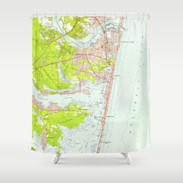 Vintage Map of Point Pleasant NJ (1953) Shower Curtain