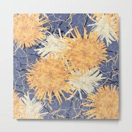 Abstract Orange Flowers Pattern Metal Print