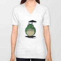 cthulu V-neck T-shirts featuring my neighbor cthulu by pixel.pwn   AK