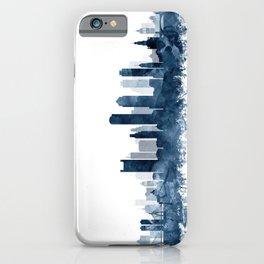 Boston Skyline Navy Blue Watercolor by Zouzounio Art iPhone Case