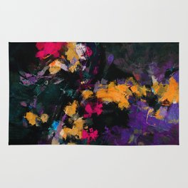 Purple and Yellow Abstract / Surrealist Painting Rug