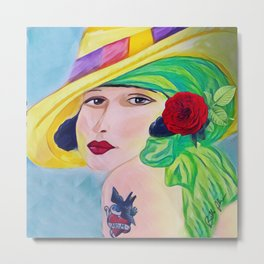 Lady With The Yellow Hat Metal Print