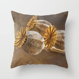 Poppy capsule Throw Pillow