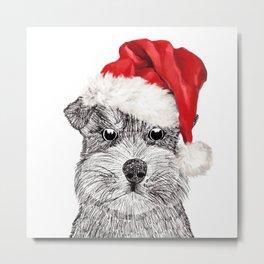 Christmas Schnauzer Metal Print