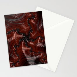 Red Black Funky Wild Cool Masculine Stylish Abstract Fractal Art Design Stationery Cards