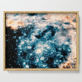 Nebula Galaxy Teal Peach Serving Tray