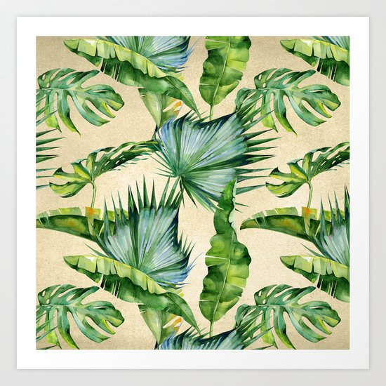 Green Tropics Leaves on Linen Art Print