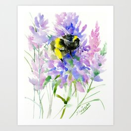 Bumblebee and Lavender Flowers, nature bee honey making decor Art Print