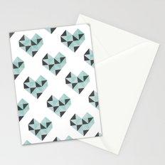 Geometric Heart (Blue) Stationery Cards