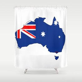 Australia Map with Australian Flag Shower Curtain